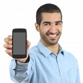 Arab Casual Man Showing A Mobile Phone Application