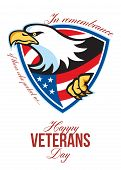 stock photo of veterans  - Greeting card poster showing illustration of a bald eagle with american stars stripes flag inside shield in retro style with words Happy veterans day in remembrance to those who protect us - JPG