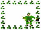 pic of fourleaf  - ,green fourleaf clover around edge with irish leprechaun inside holding clover and pot of gold dressed in green suit and hat, smiling - JPG