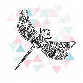 Dragon fly hand drawn illustration on geometric background postcard cover design in vector