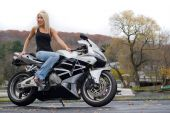 Blonde Woman On A Motorcycle