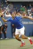 Seventeen times Grand Slam champion Roger Federer during fourth round match at US Open 2013