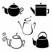 Set of Isolated Icon Kettles, Teapots, Coffee Pot