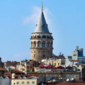 ISTANBUL - AUGUST 2: Tourists on the top of Galata Tower in Istanbul on August 2, 2013 in Istanbul,