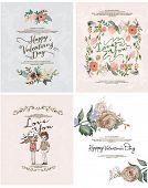 Romantic cartoon invitation valentine card flowers