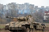 Kiev, Ukraine - November 1: German tank (replica) is displayed on the Field of Battle military history festival on November 1 , 2013 in Kiev, Ukraine