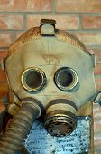 KIEV, UKRAINE -NOV 3: Vintage Soviet gas mask during historical military reenactment, festival  and