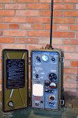 KIEV, UKRAINE -NOV 3: Vintage Soviet military radio during historical military reenactment, festival