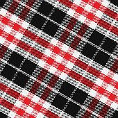 stock photo of kilts  - vector seamless pattern Scottish tartan 3 black white gray red - JPG