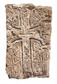 Armenian medieval cross stone isolated over white