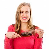 image of hairline  - Woman being stressed of huge hair loss  - JPG