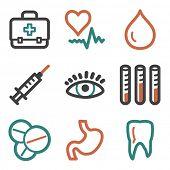 Medicine web icons, contour series