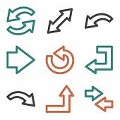 Arrow web icons, contour series