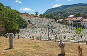 SARAJEVO, BOSNIA AND HERZEGOVINA - AUGUST 12, 2012: Hillview of Martyr�´s memorial cemetery Kovaci