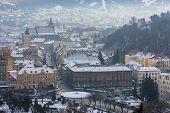 Brasov City Covered By First Snow