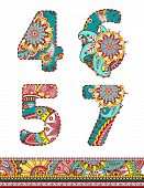 stock photo of six-petaled  - Floral colorful numbers set - JPG