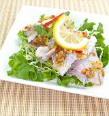Hot and spicy steam fish in lemon sauce