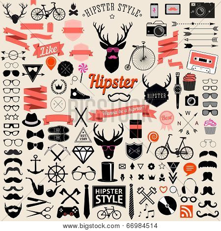 Set of vintage styled design hipster icons.Vector signs and symbols templates poster
