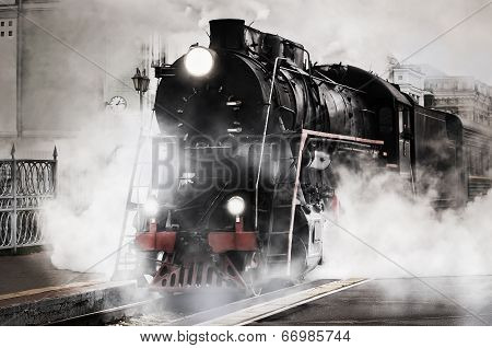 Retro steam train. poster
