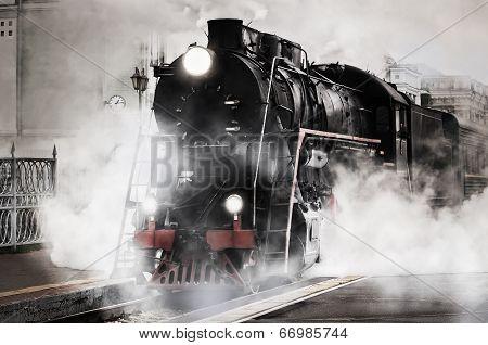 Retro steam train. poster