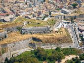 Aerial Kerkyra town fortress- Capital of Corfu isalnd Greece