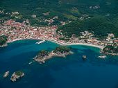 Aerial landscape of Parga Epirus Greece
