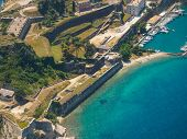 Aerial view of the Old Byzantine fortress in Corfu, Greece