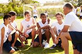 Coach Giving Team Talk To Male High School Soccer Team