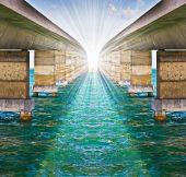 Metaphor concept of optimistic spirit with infinite bridges