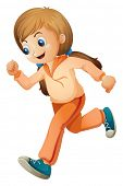 Illustration of a girl jogging with her orange outfit on a white background