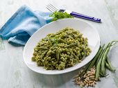 spelt with arugula pesto and green beans