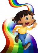 Illustration of a rainbow with a child playing on a white background