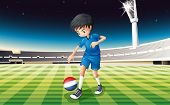 Illustration of a soccer player kicking the ball with the flag of Netherlands