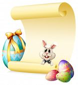 Illustration of an empty paper template with a bunny and Easter eggs on a white background