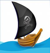 Sail boat with pirate symbol