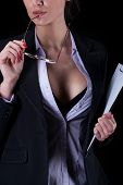 Sexy Businesswoman With Unbuttoned Shirt