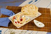 pic of gyro  - Freshly made chicken gyros with pita bread - JPG