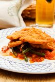 Wiener Schnitzel with vegetables