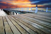 Wood Piers And Pavillion Sea Scene With Dusky Sky Use For Natural Background ,backdrop