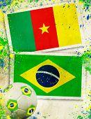 Cameroon vs Brazil soccer ball concept