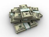 foto of ten thousand dollars  - 3d rendered illustration of bundles of dollar notes - JPG