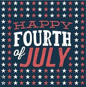 Happy Fourth of July - July 4th - Independence Day - Stars Vector