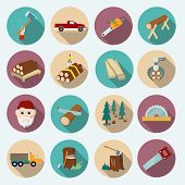 foto of man chainsaw  - Lumberjack woodcutter flat icons set of axe working tools isolated vector illustration - JPG