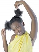 stock photo of hair integrations  - Young Afro beauty wearing an embroidered loincloth