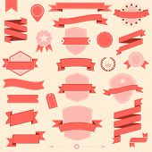 Big set retro design ribbons and badge Vector design elements