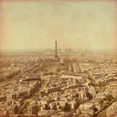 Old style photo of Paris, France. Aerial view.