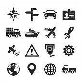 Transportation icons. Raster illustration. Simplus series