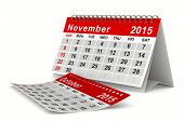 2015 year calendar. November. Isolated 3D image