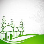 Stylish illustration of a green mosque with floral design decorated grey background on green land, c