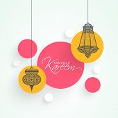 Stylish stickers with intricate hanging lanterns for holy month of Muslim community Ramadan Kareem.